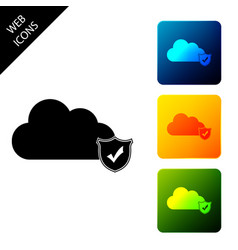 cloud and shield with check mark icon isolated vector image