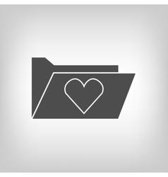 Computer folder with heart vector image