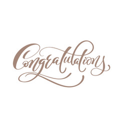congratulations hand lettering calligraphic vector image