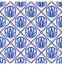 Continuous flower pattern in style Gzhel Lattice vector image