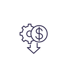 Cost reduction icon line design vector