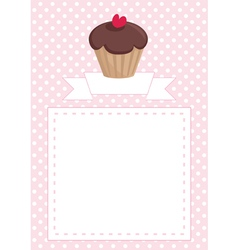 Cupcake card on pink polka dots background vector image