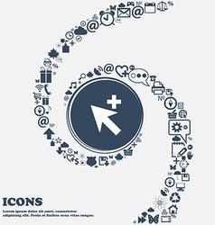 Cursor arrow plus add icon sign in the center vector