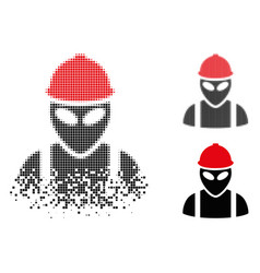 disappearing pixelated halftone alien builder icon vector image