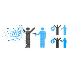 dissipated pixelated halftone thief arrest icon vector image