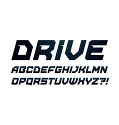 Drive style alphabet bold italic font minimalist vector