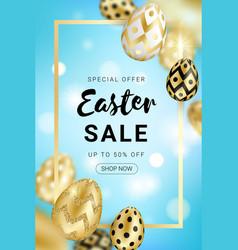Easter sale golden eggs design vertical vector