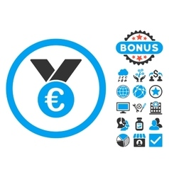 Euro Prize Medal Flat Icon with Bonus vector image