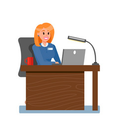 Female boss in private office vector