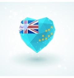 Flag of Tuvalu in shape diamond glass heart vector image