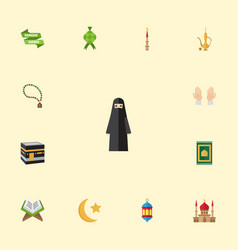 Flat icons malay new lunar islamic lamp and vector