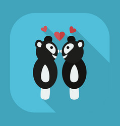 Flat modern design with shadow icons panda love vector