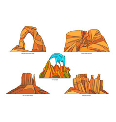 Flat signs usa or us nature landscapes vector