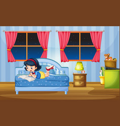 Girl reading on bed vector