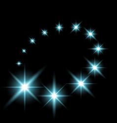 Glittering flying stars aqua color vector