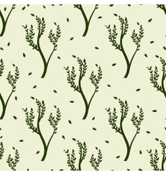 green tree and leaves seamless pattern vector image