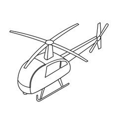 Helicopter icon in outline style isolated on white vector image