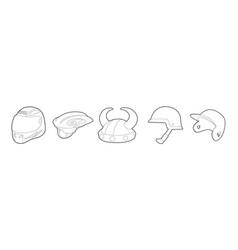 helmet icon set outline style vector image