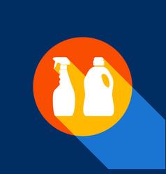 Household chemical bottles sign white vector
