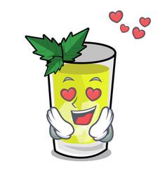 In love mint julep mascot cartoon vector