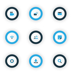 internet icons colored set with camcorder gear vector image