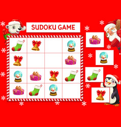 Kids game riddle with christmas characters vector