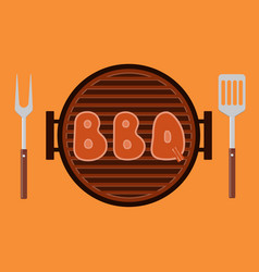 Letters bbq on the grill grilled meat steak on vector