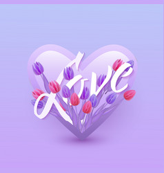 love text floral design vector image