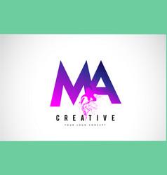Ma m a purple letter logo design with liquid vector