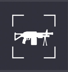 Machine gun icon automatic firearm vector