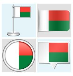 Madagascar flag - sticker button label vector
