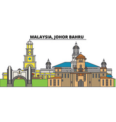 Malaysia johor bahru city skyline architecture vector