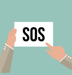 man showing paper sos text vector image