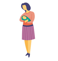 Mother holding newborn baby in arms isolated vector