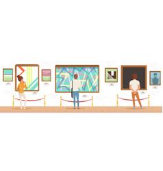 Museum visitors standing in modern art gallery vector