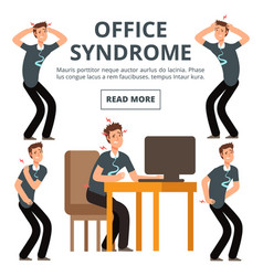 Office syndrome symptoms set vector