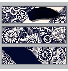 Paisley batik background Ethnic doodle cards vector image