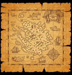 pirate treasure island ancient map with torn sides vector image