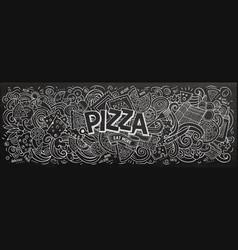 pizza hand drawn cartoon doodles vector image