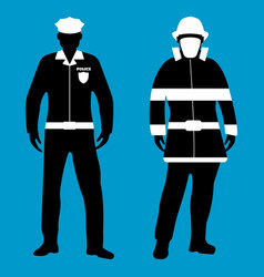 policeman and fireman flat icon service 911 vector image