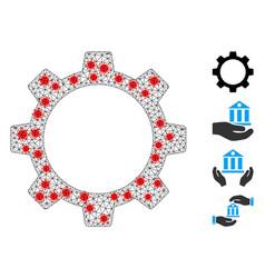 Polygonal network gear wheel icon with coronavirus vector