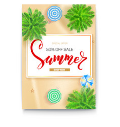 poster with summer tropical landscape gold sand vector image