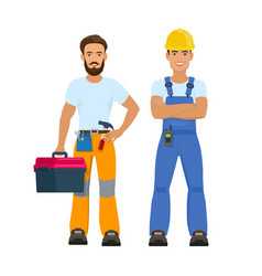 Professional construction workers vector