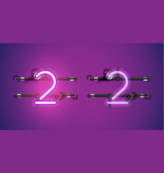 Realistic glowing purple neon charcter on and off vector