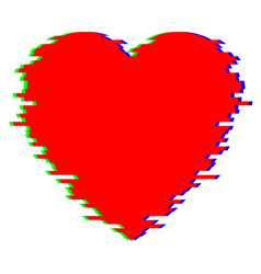 red heart in glitch style vector image