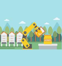 Robot beekeeper gathering honey from beehive vector