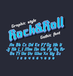 rocknroll - decorative font with graphic style vector image