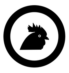 rooster head icon black color in circle vector image
