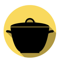 saucepan simple sign flat black icon with vector image