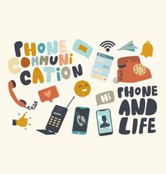 set icons phone communication theme telephones vector image